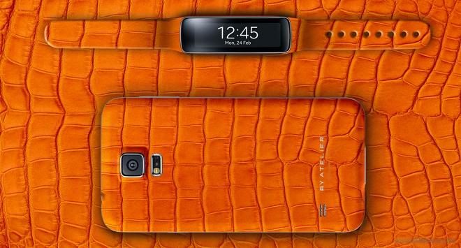 پوشش ساخته شده از چرم تمساح برای Galaxy s5 توسط Atelier