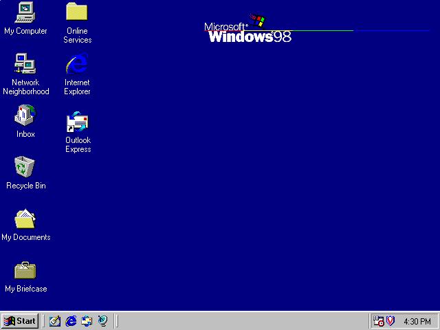 محیطی از ویندوز 98