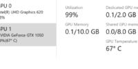 ویندوز 10 نسخهی 20H1 به کاربران این امکان را میدهد تا به راحتی دمای کارت گرافیک را مشاهده کنند