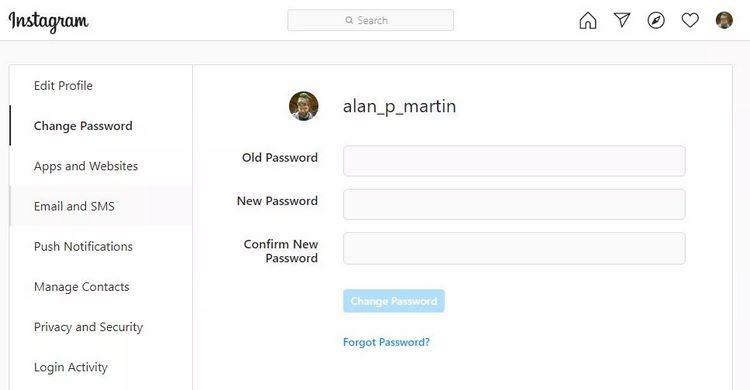 نحوهی تغییر رمز عبور در اینستاگرام