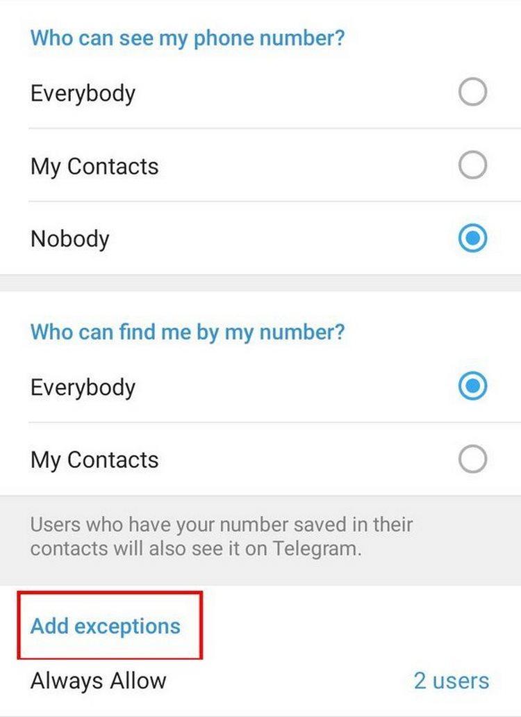 نحوهی مخفی کردن شماره تلفن در تلگرام