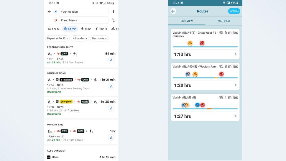 مقایسه گوگل مپس و ویز: وسایل نقلیه عمومی